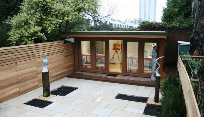 Artist garden office used for doing sculpture