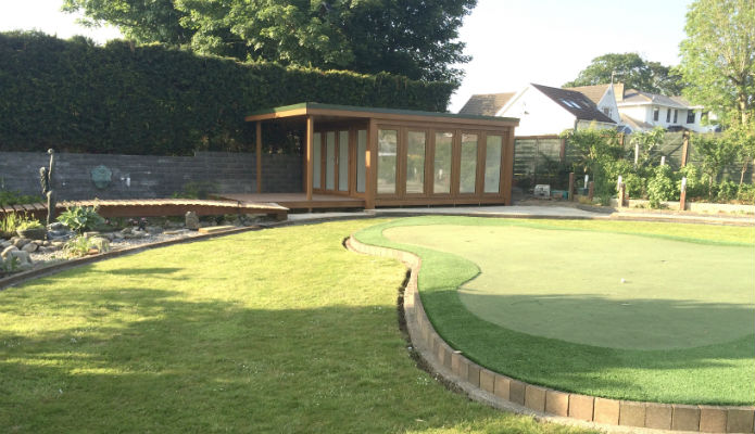 Garden Studio & Garden office installed next to a putting green
