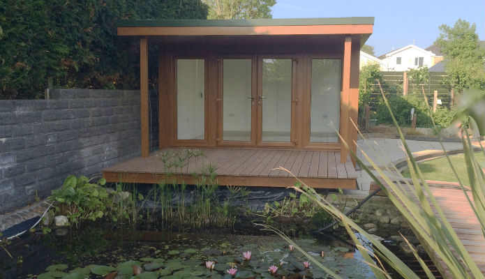 Garden Office overlooking a pond