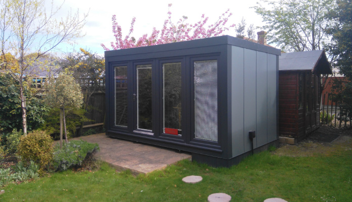 Dans Garden Office which is a 12' x 8' (3.66m x 2.44m) QCB Insulated garden office