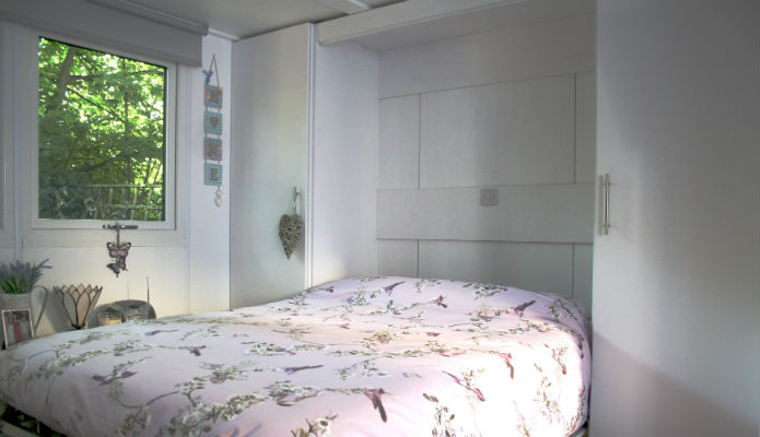 Foldaway bed used in compact granny annexe
