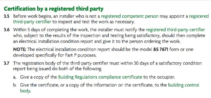 Extract from building regulations regarding mains installation for garden offices