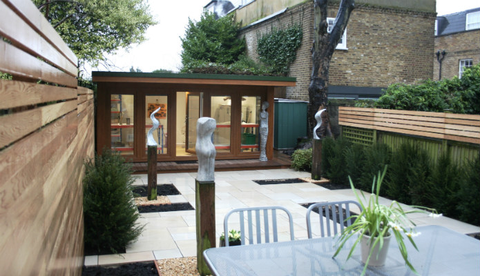 Artist Garden Office With Landscaping