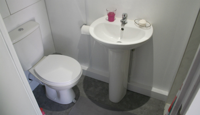 Toilet and sink within a granny annexe