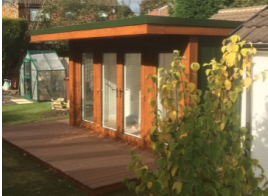 12' x 9' (3640mm x 2730mm) QC6 Garden Studio With Flyover Roof And Decking