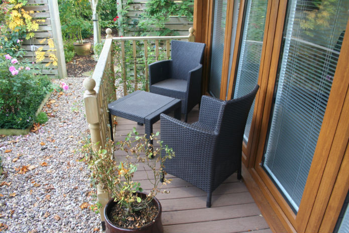 Seating area on the decking of the garden office