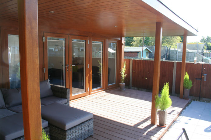 garden office with 9ft flyover roof and decking on it's frontage