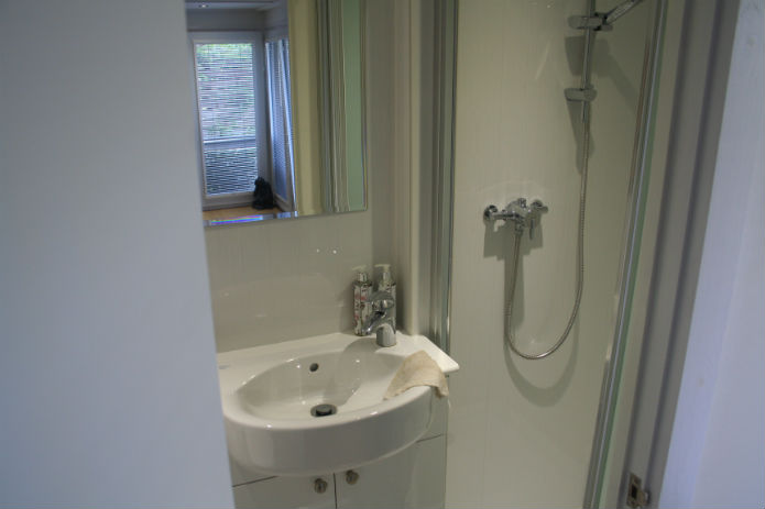 shower and sink installed in this garden room